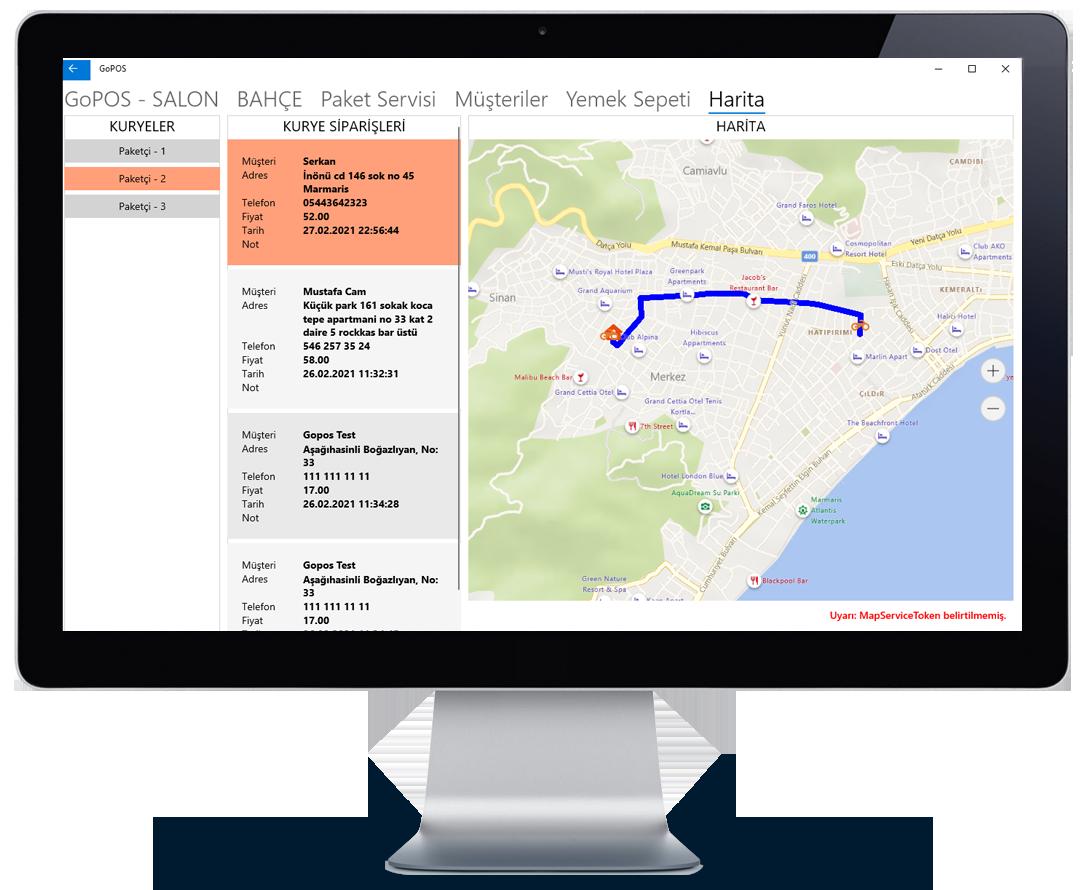 Özel link harita uzerinde kurye takip sistemi.